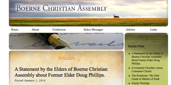 Doug Phillips, Boerne Christian Assembly, Vision Forum, Resignation, Repentance