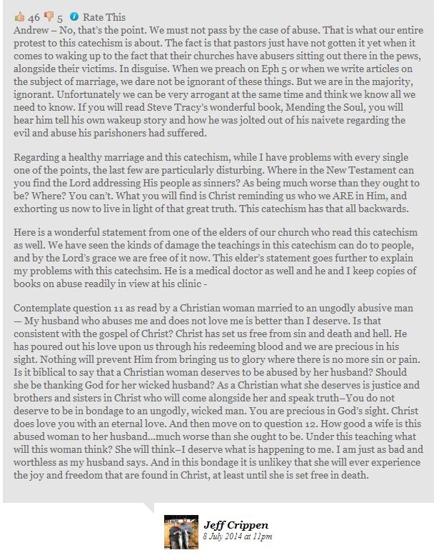 D. Scott Meadows, catechism, wife abuse, Capture Jeff Crippen comment