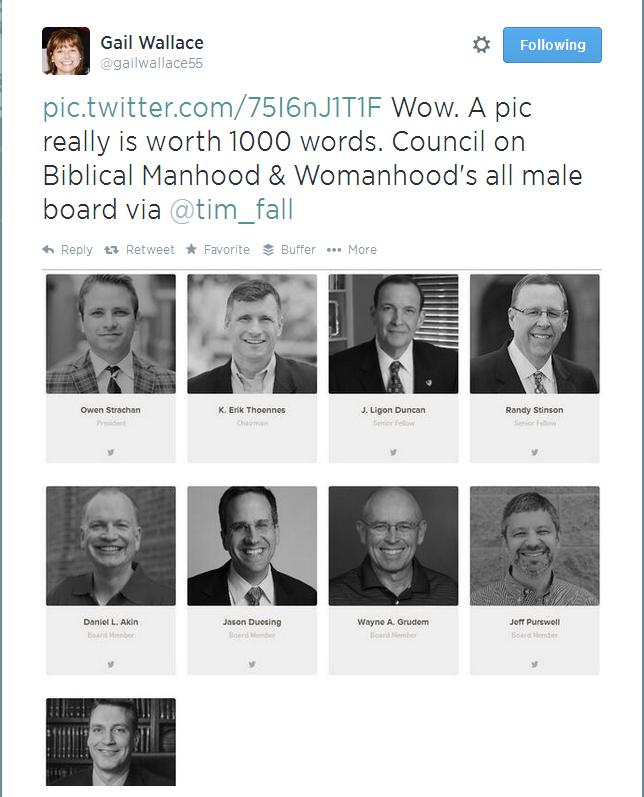 Owen Strachan, CBMW, Council for Biblical Manhood Womanhood, 100% Male Board, gailwallace55- http---t.co-75I6nJ1T1F Wow. ...