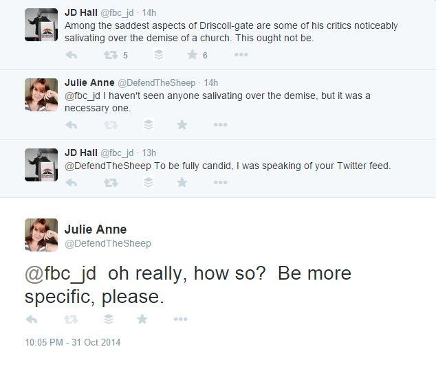 JD Hall tweet Mark Driscoll demise
