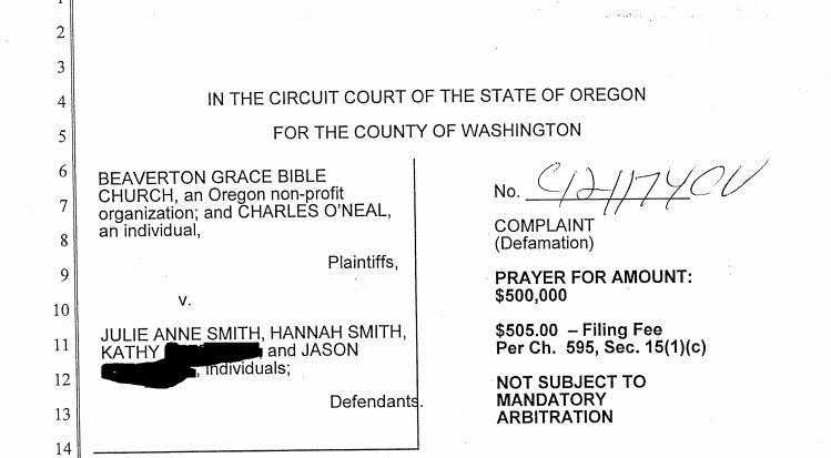 lawsuit, chuck o'neal, beaverton grace bible church