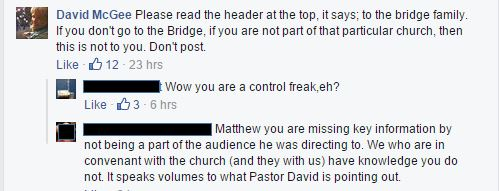 David Mcgee, The Bridge Church, Excommunication, Disfellowship
