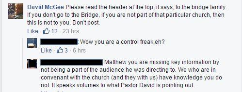 David Mcgee, The Bridge Church, Excommunication, Disfellowship