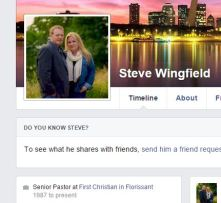 Pastor Steve Wingfield, First Christian Church of Florissant