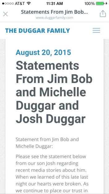 Josh Duggar sex scandal, statement, Jim Bob and Michelle Duggar, 19 kids and counting