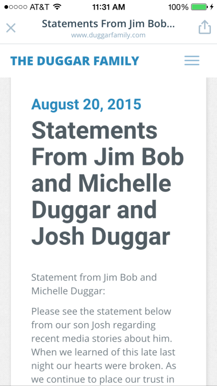 Josh Duggar sex scandal, statement, Jim Bob and Michelle Duggar, 19 kids and counting