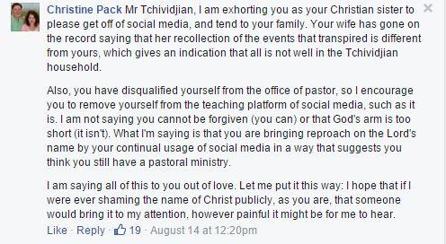 Christine Pack rebukes Tullian Tchividjian