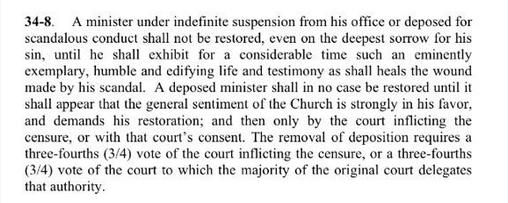 PCA Book of Church Order, Tullian Tchividjian