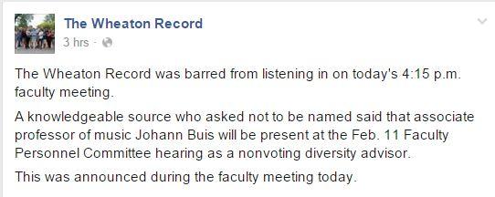Wheaton College, The Wheaton Record, Dr. Hawkins