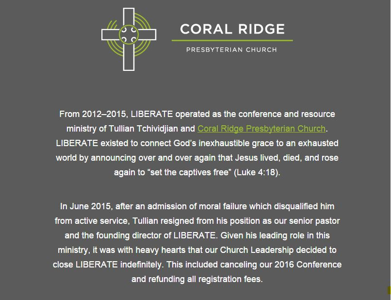Coral Ridge Presbyterian Church, Liberate Network, Tullian Tchividjian, Spiritual Sounding Board, Clergy Sex Abuse
